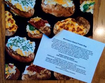 "Handmade - Microwave Potato Baker Bag/Hot Pad ""Baked Potato"" Print."