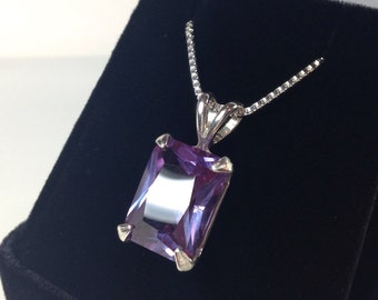 Gorgeous 9ct Emerald Cut Alexandrite Sterling Silver Solitaire Pendant Necklace Color Change Alexandrite Necklace large June Birthstone Gif
