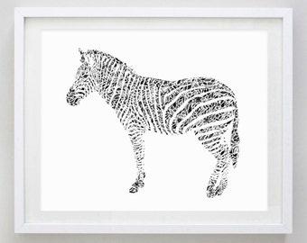 Zebra Black and White Floral Watercolor Art Print