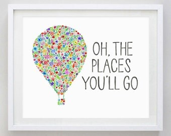 items similar to oh the places you 39 ll go 11x17 hand lettered illustrated quote custom color. Black Bedroom Furniture Sets. Home Design Ideas