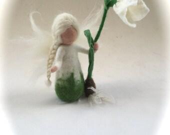 Snowdrop fairy.felted. Wet  felted. Waldorf.Flower child.