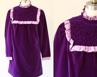 1960s purple velvet dress // MOD mini dress // vintage dress