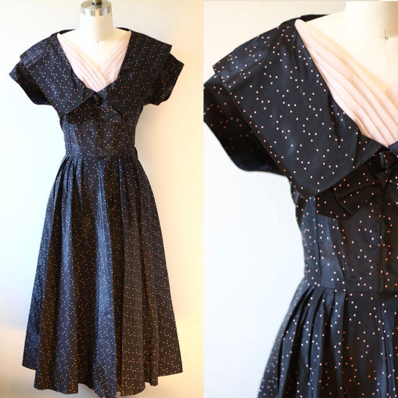 1950s pink dot dress // 1950s little black dress // vintage dress