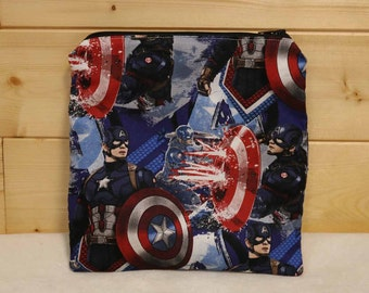 One Sandwich Bag, Reusable Lunch Bags, Waste-Free Lunch, Machine Washable, Captain America, Sandwich Sacks, item #SS91
