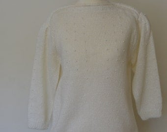 vintage jumper with pearl details, size small