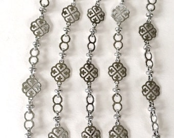 Antique Silver Vanessa Chain, Silver Plate Fancy Brass Chain, 12mm, 2FT