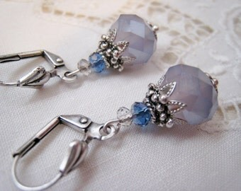 Pale Lavender Purple Bead Dangle Earrings Opaque Faceted Glass Bead Antique Silver Lever Back Victorian Vintage Style