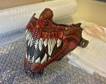 Dragon Custom Leather Motorcycle Riding Mask