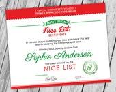 Santa's Nice List Certificate, Naughty or Nice Printable, Christmas Printable, Santa Letter, DIY Christmas - CUSTOMIZABLE + PRINTABLE
