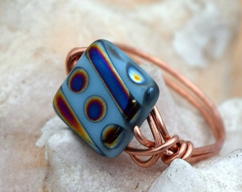 Bare Copper Wire Wrapped Ring, Wire Ring, Bare Copper Wire, Beaded Ring, Czech Bead Ring, Light Blue Ring, Glass Ring, Square Ring, Handmade