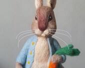 Peter Rabbit, needle felted rabbit, Beatrix Potter The Tale of Peter Rabbit character, needle felted bunny