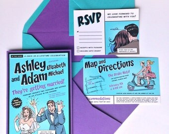 Custom Comic Book Wedding Invitation Kit - Invitation, Pocket, Inserts, Addressed Envelopes