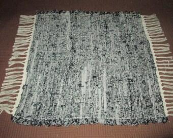 Smaller Black and Grey Sock Looper Rag Rug (053101)