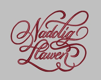 Nadolig Llawen 7 sizes Merry christmas embroidery design Machine Embroidery Design File Instant Download