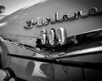 Ford Fairlane, ford muscle cars, best car photos, gift for car lovers, ideas for wall décor classic muscle cars black and white art pictures