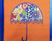 Textile greeting card with Liberty fabric umbrella and embroidery