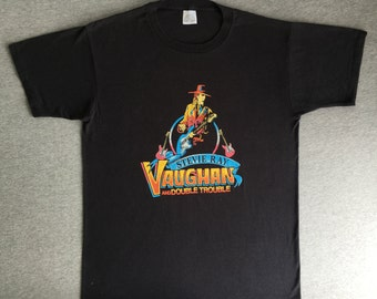STEVIE RAY VAUGHAN Shirt 1988 Vintage/ 80's Double Trouble Rock Tshirt/ Guitar UsA Made Black X-Large