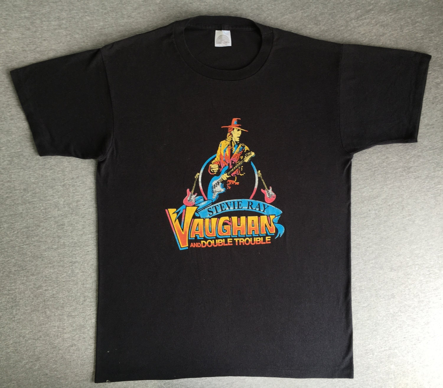 stevie ray vaughan shirt 1988 vintage   80 u0026 39 s double trouble