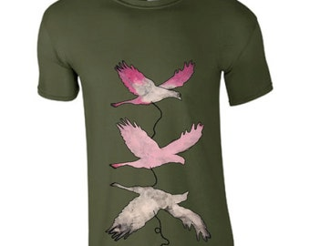Unique painted t shirt, flying birds, pink bird tee, artistic hipster t-shirt