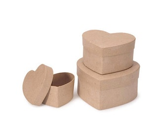Paper Mache Heart Shaped Cardboard Box Set - 4 and 5 and 6 inch - Valentine's Day Craft Supplies