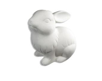 Rabbit Figurine, Ceramic Bisque, Paintable Pottery, Craft Supplies