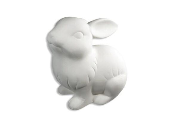 Rabbit figurine ceramic bisque paintable pottery craft for Bisque ceramic craft stores