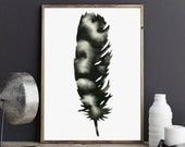 Feather Print, Minimalist Feather Art, Modern Black and White Feather Print, Scandinavian Nursery Print, Minimal Feather Artwork, Woodland