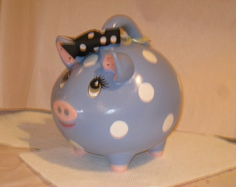 "Ceramic  Pig Bank, blue with white dots  6"" X 6 "", Hand painted by Joan Davis"