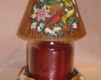 Ceramic cardinal candle shade,  hand painted by Joan Davis