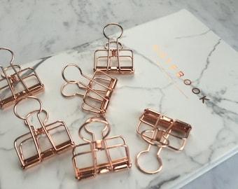 Rose Gold Binder Clips Set of 6