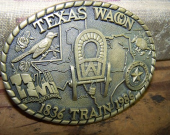 Texas Wagon Train Belt Buckle Brass Texas Belt Buckle