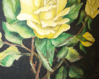 Yellow Roses Painting Original Painting Yellow Roses