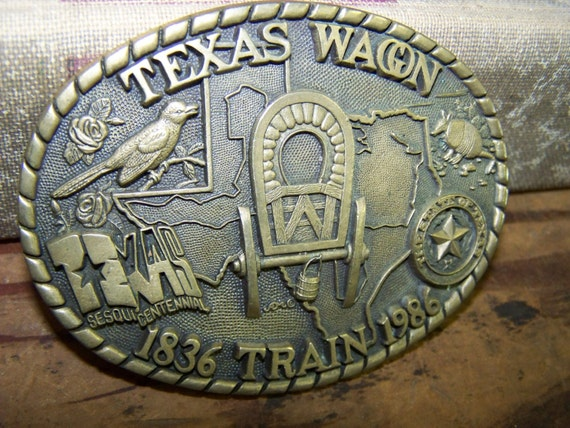 Texas Wagon Train Belt Buckle