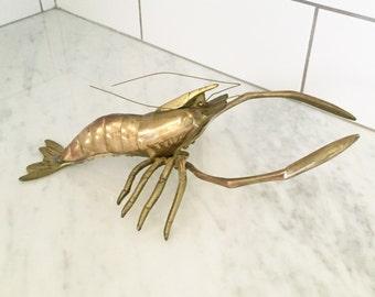 Vintage Brass Lobster, Brass Shellfish, Beach Decor, Mid Century  Brass, Nautical Decor, Vintage Lobster