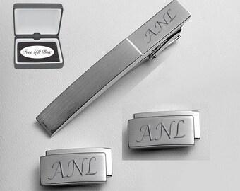 Personalized Cufflinks, Stainless Steel Contemporary Cufflinks & Tie Clip Set Engraved Free, Custom Cufflinks - Buy 6, Get 7th Free