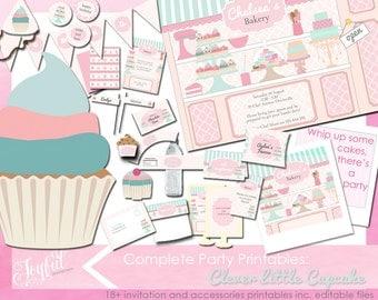 Cupcake Baking Birthday Party Invitations and Printables