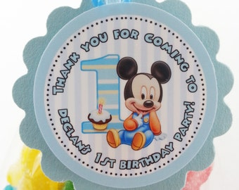 """Personalized Baby Mickey 1st Birthday 2"""" Scallop Party Favor Tags"""