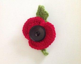 Poppy Brooch, Crocheted Flower Brooch