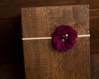 Plum Chiffon Flower Rhinestone Headband, photo prop, Newborn, toddler, adult