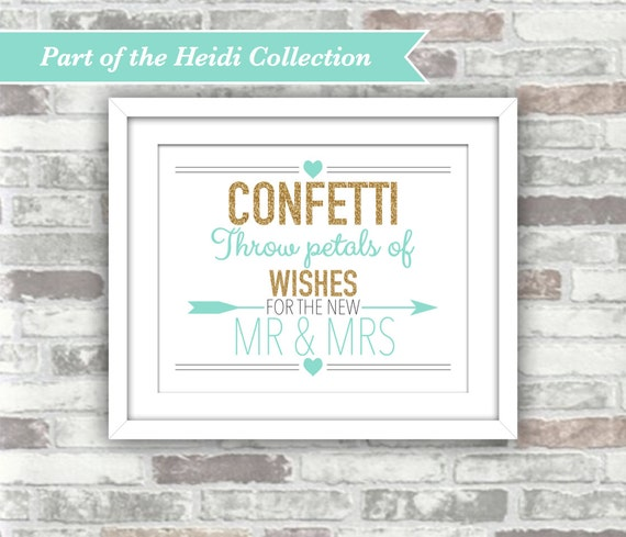 INSTANT DOWNLOAD - Heidi Collection - Printable Wedding Confetti Sign - 8x10 Digital Files - Gold Glitter Effect Teal Aqua Turquoise Mr Mrs