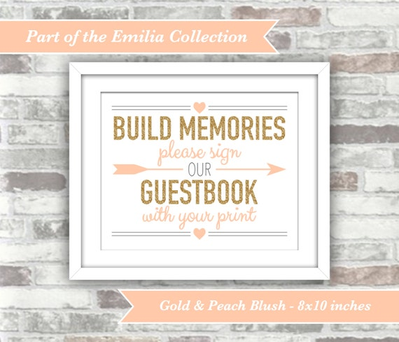 INSTANT DOWNLOAD - Emilia Collection - Printable Fingerprint Wedding Guestbook Sign - Digital Files - 8x10 - Gold Glitter Effect Peach Blush