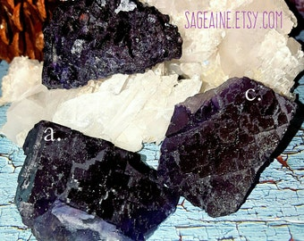 SageAine:  Purple Fluorite Crystal , EMF protection, Third Eye Chakra, Reiki Charged, Crystal Healing