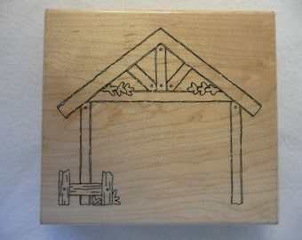 FREE SHIP  Large Rubber Stamp House Frame