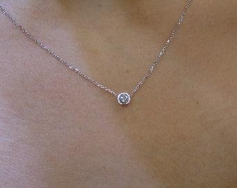 Diamond Pendant 0.20ct 14k White Gold/ Natural Diamond SI1 G Color Solitaire Bezel Set Necklace 14k/ Solitaire Diamond Pendant/Gold Diamond