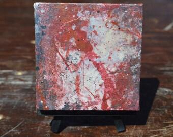 "Volcanic Spatter 4""x4"" Modern Abstract Canvas Art"