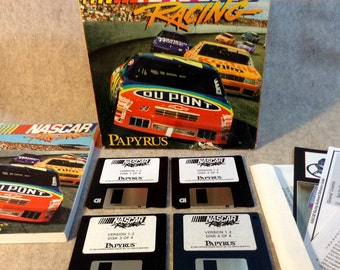 """Vintage DOS PC, NASCAR  Racing Game for Vintage Computer Play - by Papayrus - 3.5"""" disks - 1994"""