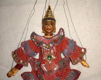 Vintage Burmese hand carved puppet or marionette.