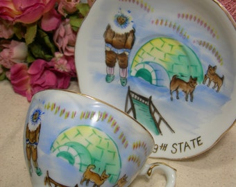 Alaska 49th State Eskimo Sled Dogs Igloo Hand Painted Norcrest Cup Saucer