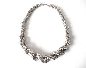 Beautiful Vintage 835 Silver Graduated Chunky Rope Necklace Made in Portugal