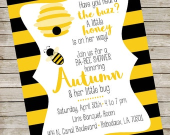 Bee Baby Shower Invitation PIY file ~ Ba-bee Shower Printable Invite ~ Bee Day Party ~ Yellow Black Stripes Digital File